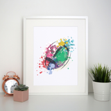Watercolor rugby ball print poster wall art decor