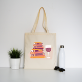 Wine and books tote bag canvas shopping - Graphic Gear