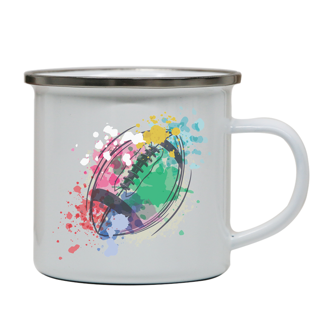 Watercolor rugby ball enamel camping mug outdoor cup colors - Graphic Gear