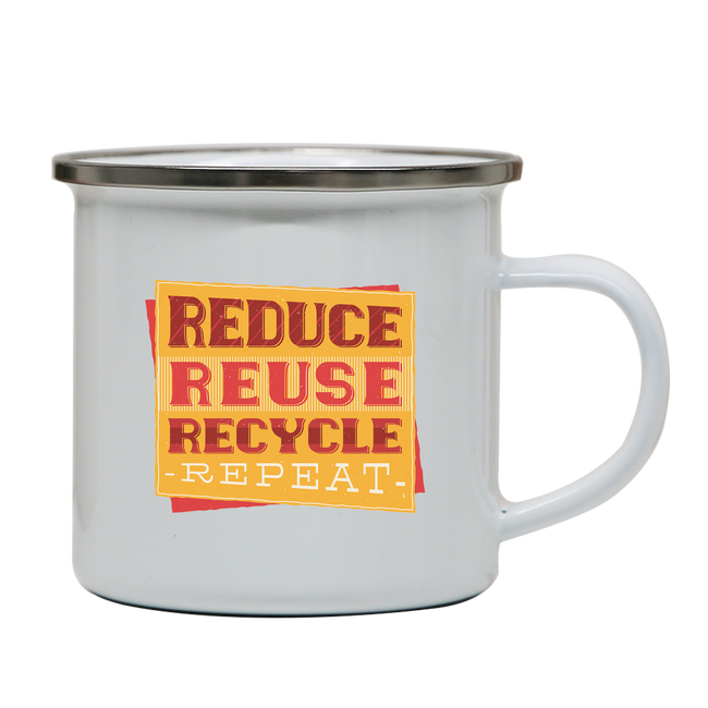 Red recycle enamel camping mug outdoor cup colors