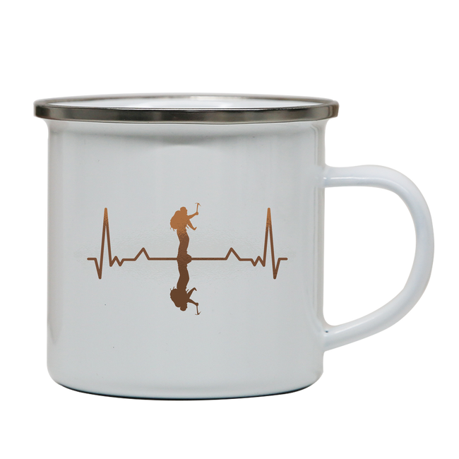 Heartbeat mountaineer enamel camping mug outdoor cup colors - Graphic Gear