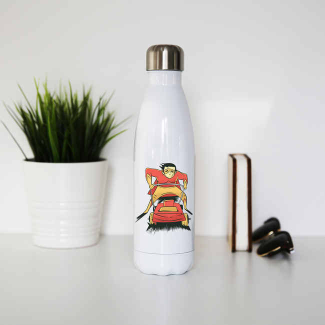 Lawnmover superhero water bottle stainless steel reusable - Graphic Gear
