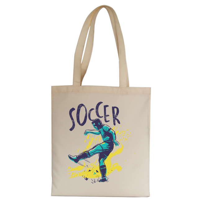 Soccer grunge color tote bag canvas shopping - Graphic Gear