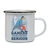 Serious gamers enamel camping mug outdoor cup colors - Graphic Gear