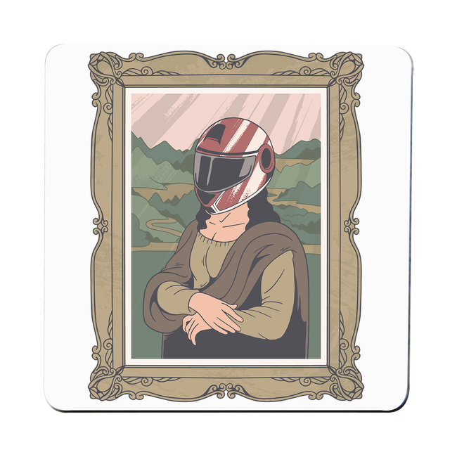 Mona lisa helmet coaster drink mat - Graphic Gear