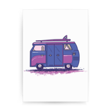 Colored camper van print poster wall art decor