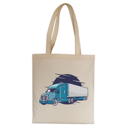 Semi truck illustration tote bag canvas shopping - Graphic Gear