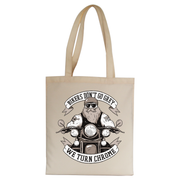 Funny biker text tote bag canvas shopping - Graphic Gear