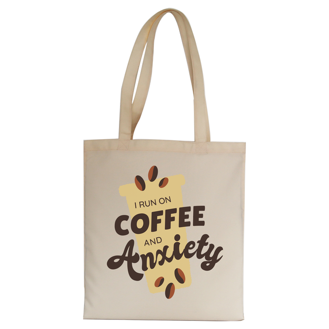 Coffee and anxiety tote bag canvas shopping