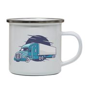 Semi truck illustration enamel camping mug outdoor cup colors - Graphic Gear