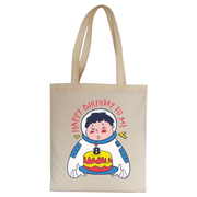 Birthday astronaut tote bag canvas shopping - Graphic Gear