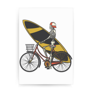 Skeleton cycling print poster wall art decor - Graphic Gear