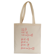 Physics formula tote bag canvas shopping
