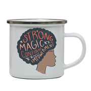 Proud afro woman quote enamel camping mug outdoor cup colors