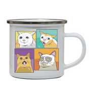 Meme cats enamel camping mug outdoor cup colors
