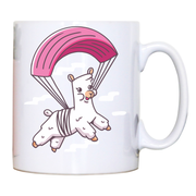 Skydiving alpaca mug coffee tea cup