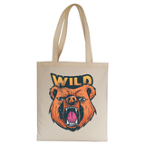 Wild bear tote bag canvas shopping - Graphic Gear