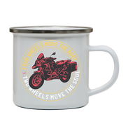 Two wheels quote enamel camping mug outdoor cup colors