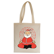 Meditating santa claus tote bag canvas shopping