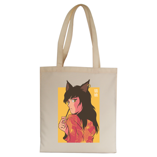 Cat girl anime tote bag canvas shopping - Graphic Gear