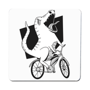 Biker dinosaur coaster drink mat - Graphic Gear