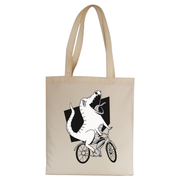 Biker dinosaur tote bag canvas shopping - Graphic Gear