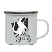 Biker dinosaur enamel camping mug outdoor cup colors - Graphic Gear
