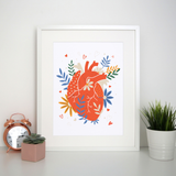 Floral realistic heart print poster wall art decor - Graphic Gear