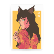 Cat girl anime print poster wall art decor - Graphic Gear