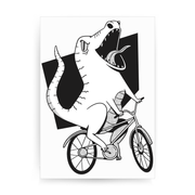 Biker dinosaur print poster wall art decor - Graphic Gear