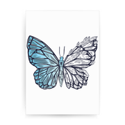 Crystal butterfly print poster wall art decor