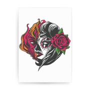 Mexican fire girl print poster wall art decor - Graphic Gear
