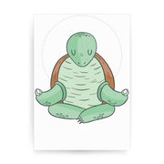 Yoga turtle funny print poster wall art decor