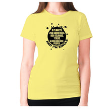 Load image into Gallery viewer, 8 planets, 204 countries, 809 islands, 7 seas, 6.000.000.000+ people, AND I'M SINGLE - women's premium t-shirt - Yellow / S - Graphic Gear