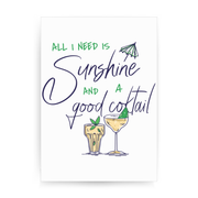 A good cocktail funny drinking print poster wall art decor