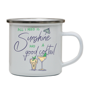 A good cocktail funny drinking enamel camping mug outdoor cup colors