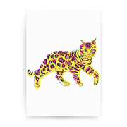 Colorful bengal cat print poster wall art decor