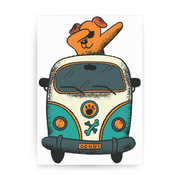 Dabbing dog van print poster wall art decor