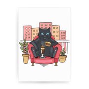 Cat on balcony eating and drinking print poster wall art decor