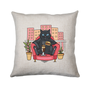 Cat on balcony eating and drinking cushion cover pillowcase linen home decor