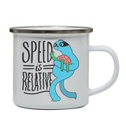 Cool t-shirt design that features an illustration of a plane flying enamel camping mug outdoor cup colors