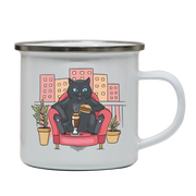 Cat on balcony eating and drinking enamel camping mug outdoor cup colors