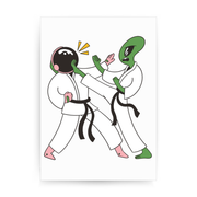 Space karate funny print poster wall art decor