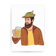 Hipster man with beer print poster wall art decor