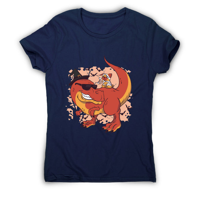 Halloween pug and dinosaur - funny halloween women's t-shirt - Navy / S - Graphic Gear