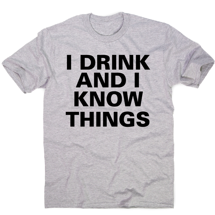 I drink and I  funny fishing t-shirt men's - Grey / S - Graphic Gear