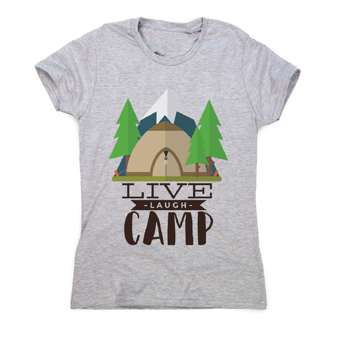 Live laugh camp - women's funny premium t-shirt - Grey / S - Graphic Gear