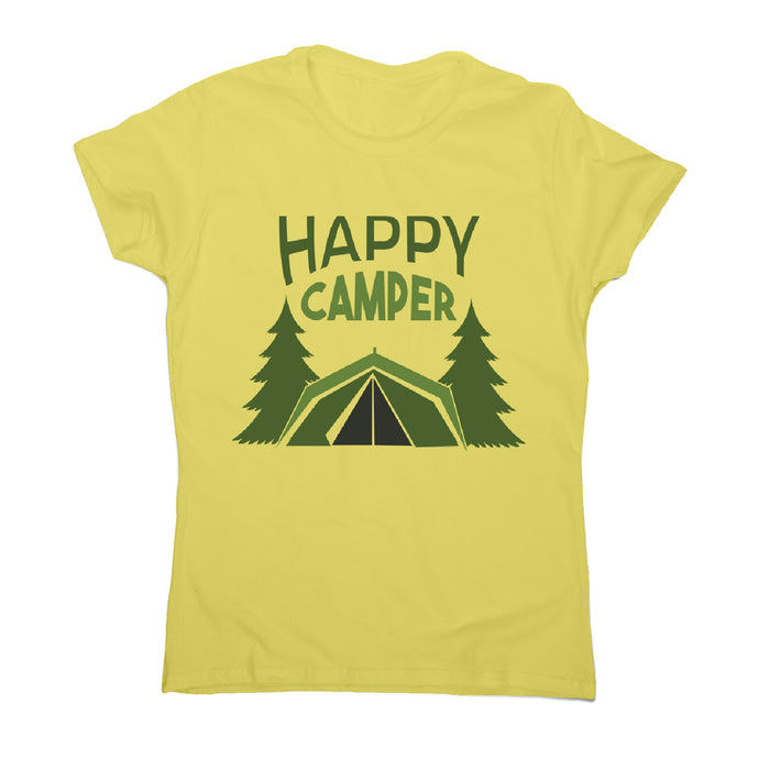 Outside camping - women's funny premium t-shirt - Yellow / S - Graphic Gear