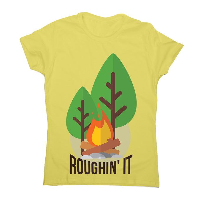 Rough camping - women's funny premium t-shirt - Yellow / S - Graphic Gear