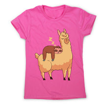Load image into Gallery viewer, Sloth riding llama - women's funny illustrations t-shirt - Graphic Gear